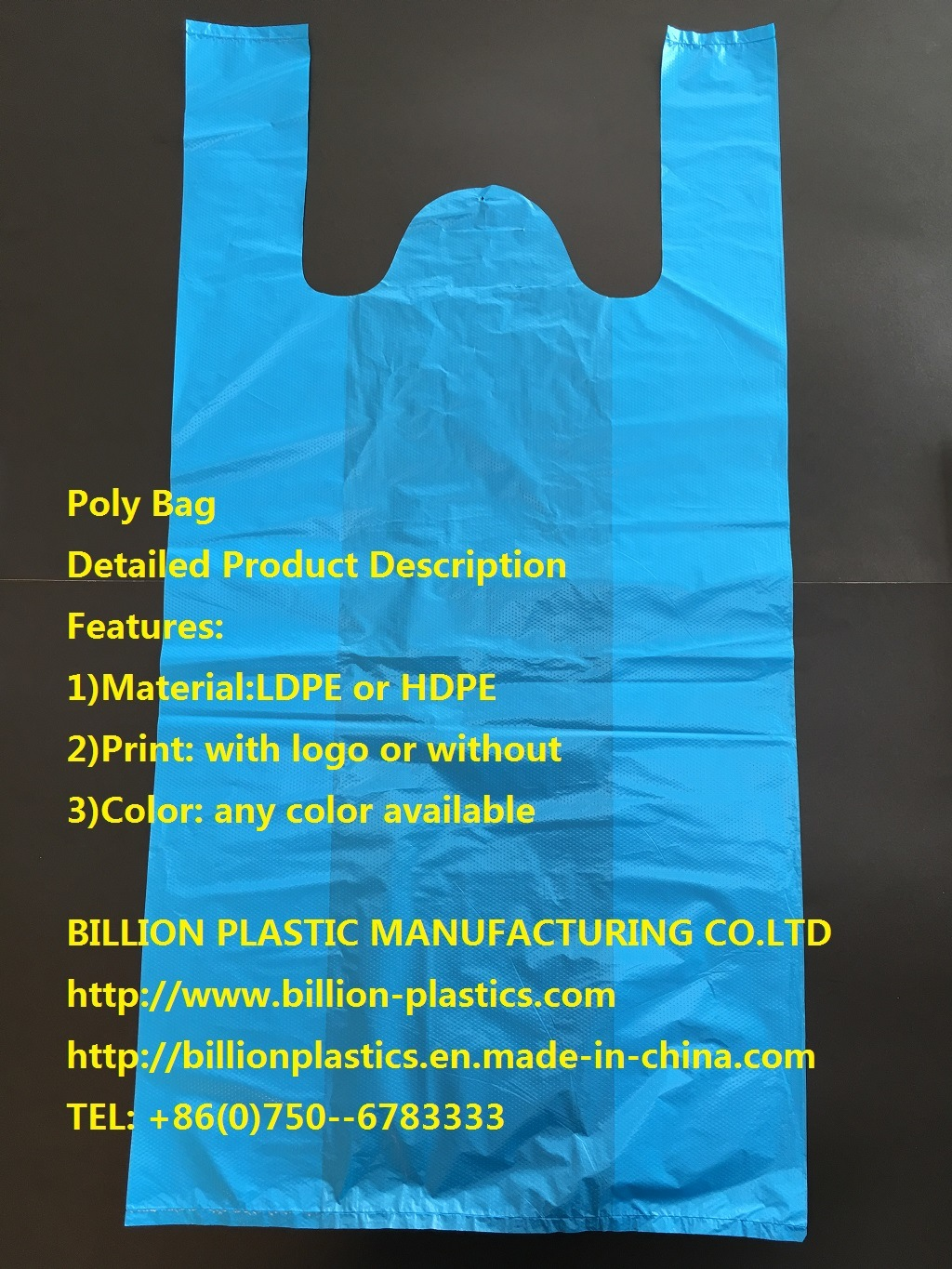 HDPE Plastic T-Shirt Bag Packing Vest Bag Shopping Bag Garbage Bag Rubbish Bag T-Shirt Bag Carrier Bag Shopping Bag Polybag Gusset Bag
