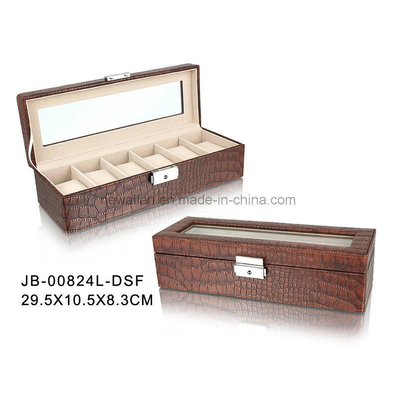 6PCS Watches Storage Brown Croco Leather Watch Storage Box Watch Box