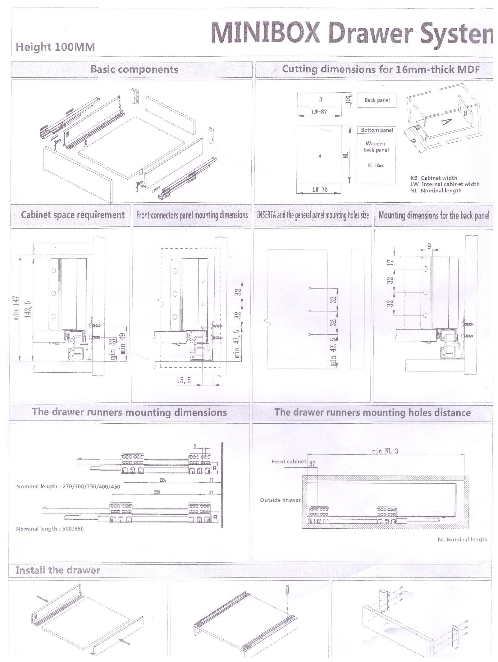 Elegant Double Wall Drawer Box System with Soft Close Concealed Drawer Slides, 199 mm Height