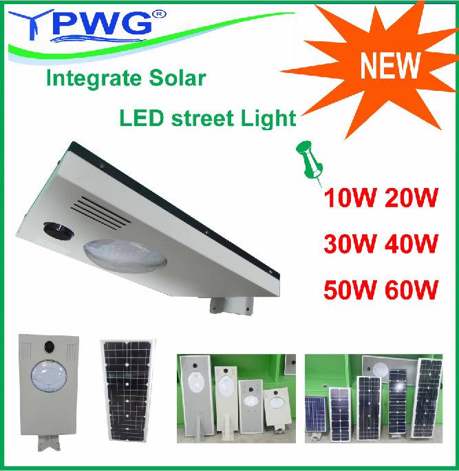 10W/15W/20W/30W/40W/50W/60W All-in-One Integrated LED Solar Street Lights
