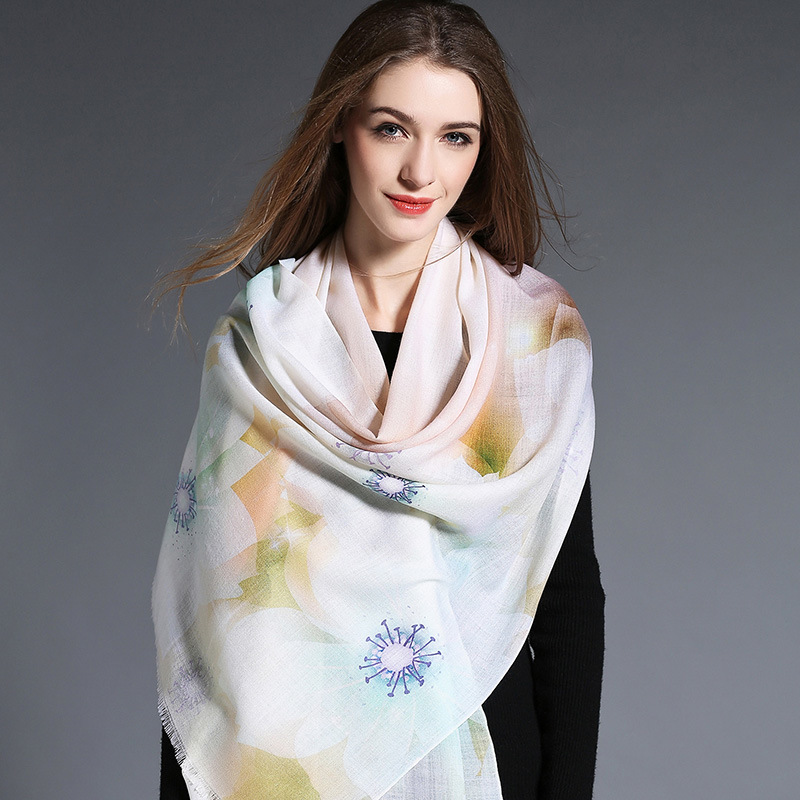 Wool Scarf Light Color Digital Printing