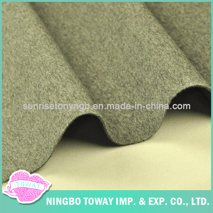 Double Faced Woven 830g Thick Direction Hair Grey Wool Fabric