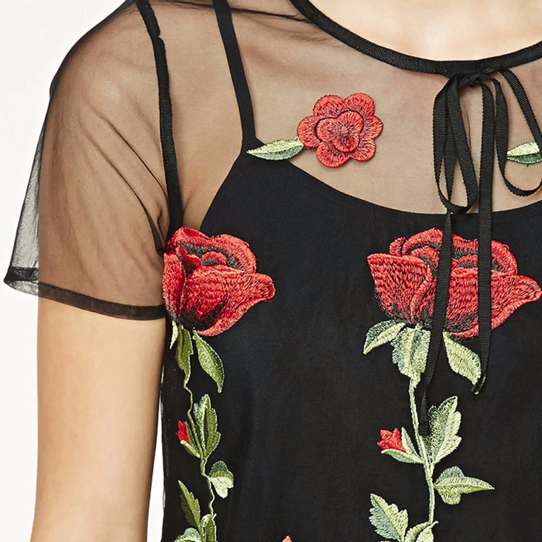 Fashion Two Piece Set Embroidery Mesh Lace Camisole Blouse