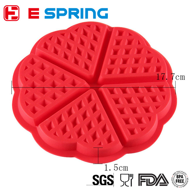 Top Quality FDA Certificant 5-Cavity Silicone Waffle Cake Mold