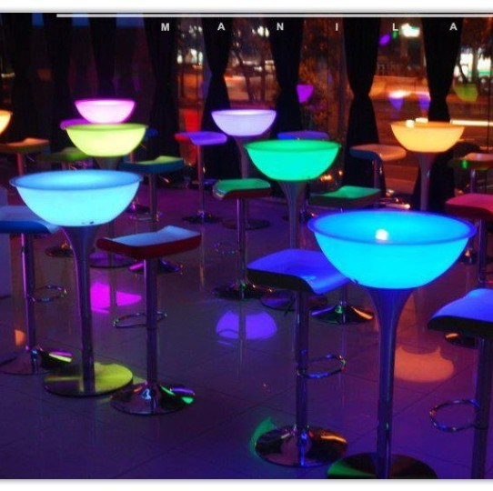 China round illuminated led cocktail table tc4083 for Cocktail tables led