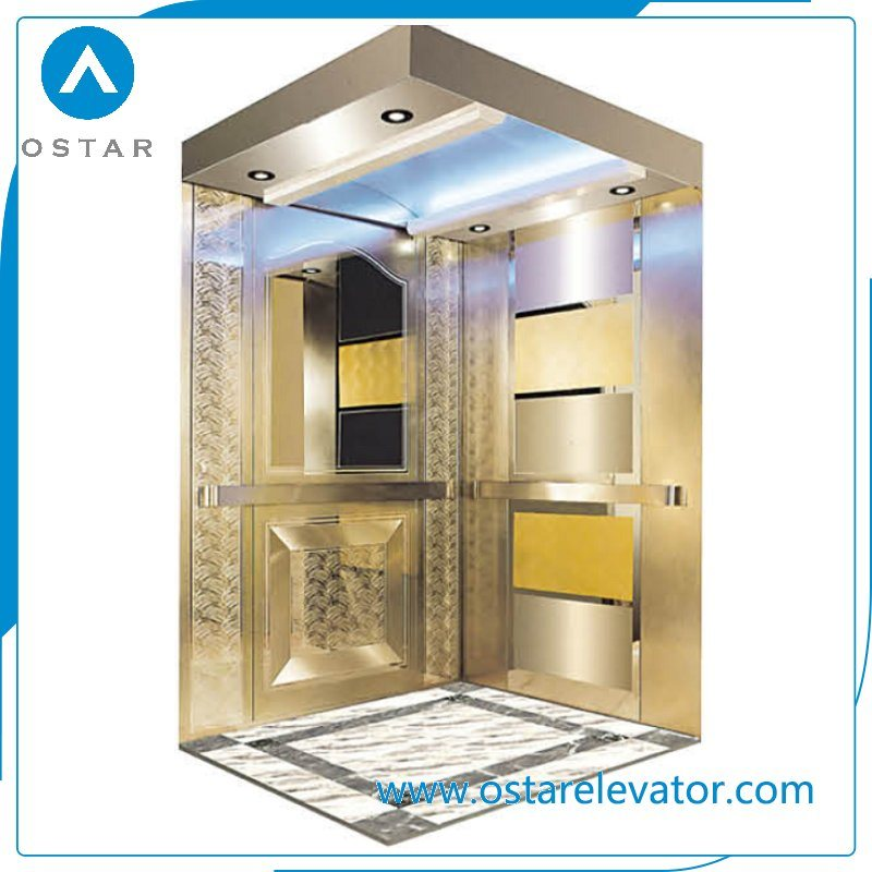 Gloden Mirror Etching Passenger Elevator with Vvvf Lift Driving System