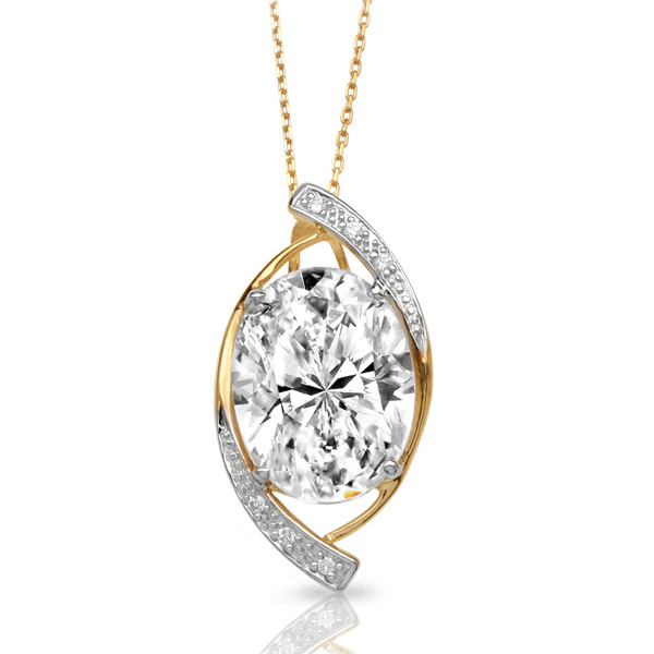 Gold Plated 925 Sterling Silver Eye Pendants with White CZ