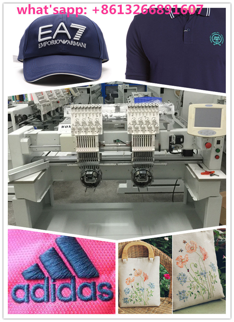 Double Head and 12 Needle Computerized Wonyo Embroidery Machine for Hats and Garments Wy1202c