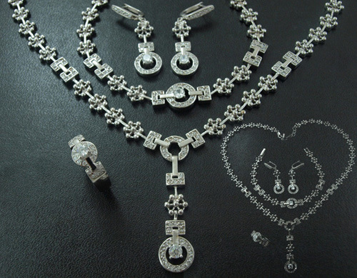 925 Sterling Silver Set CZ Jewelry Bridal Jewelry