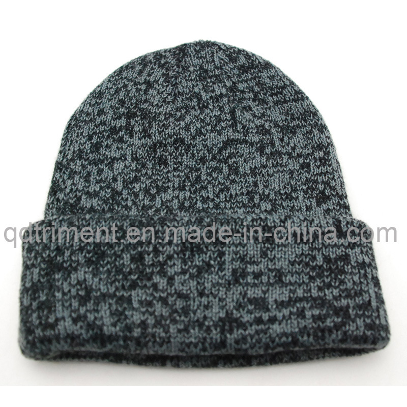 100% Acrylic Heathered Roll up Knitted Beanie (TRK3005)