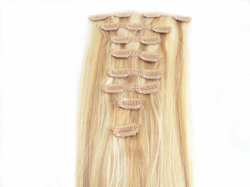 Full Head 100% Human Hair Clip in Hair Extensions 18inches