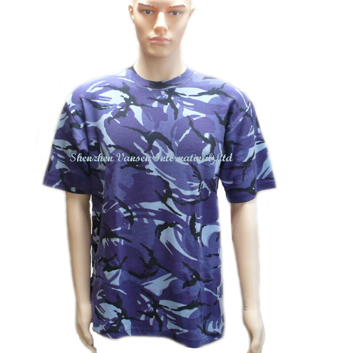 Camouflage Plain Cotton T-Shirt in O Neck