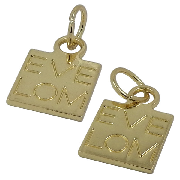 Gold Round Metal Hang Tag Charms with Engraved Logo