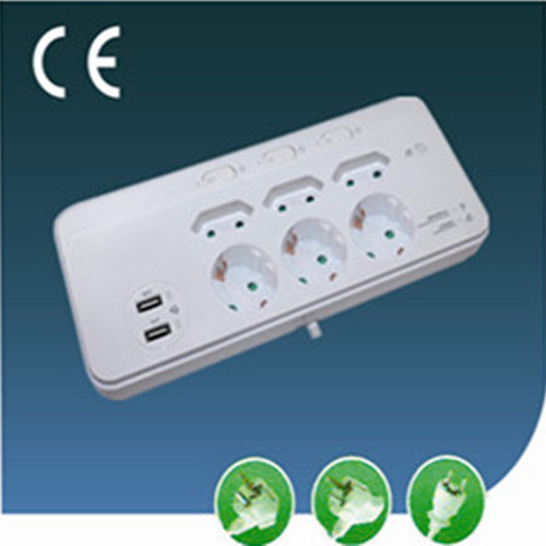 6 Ways Surge-Protection EU Extension Socket with Switch