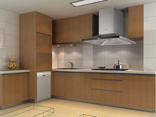 China Construction Project Fitted Kitchen Cabinets with Flat ...