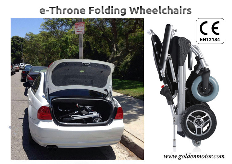 Golden Motor 8′′, 10′′, 12′′e-Throne Brushless Folding Wheelchair /Electric Foldable Wheelchair/Portable Electric Wheelchair for Sale