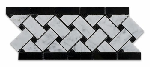 Carrara White Marble Border Line with Black Dots