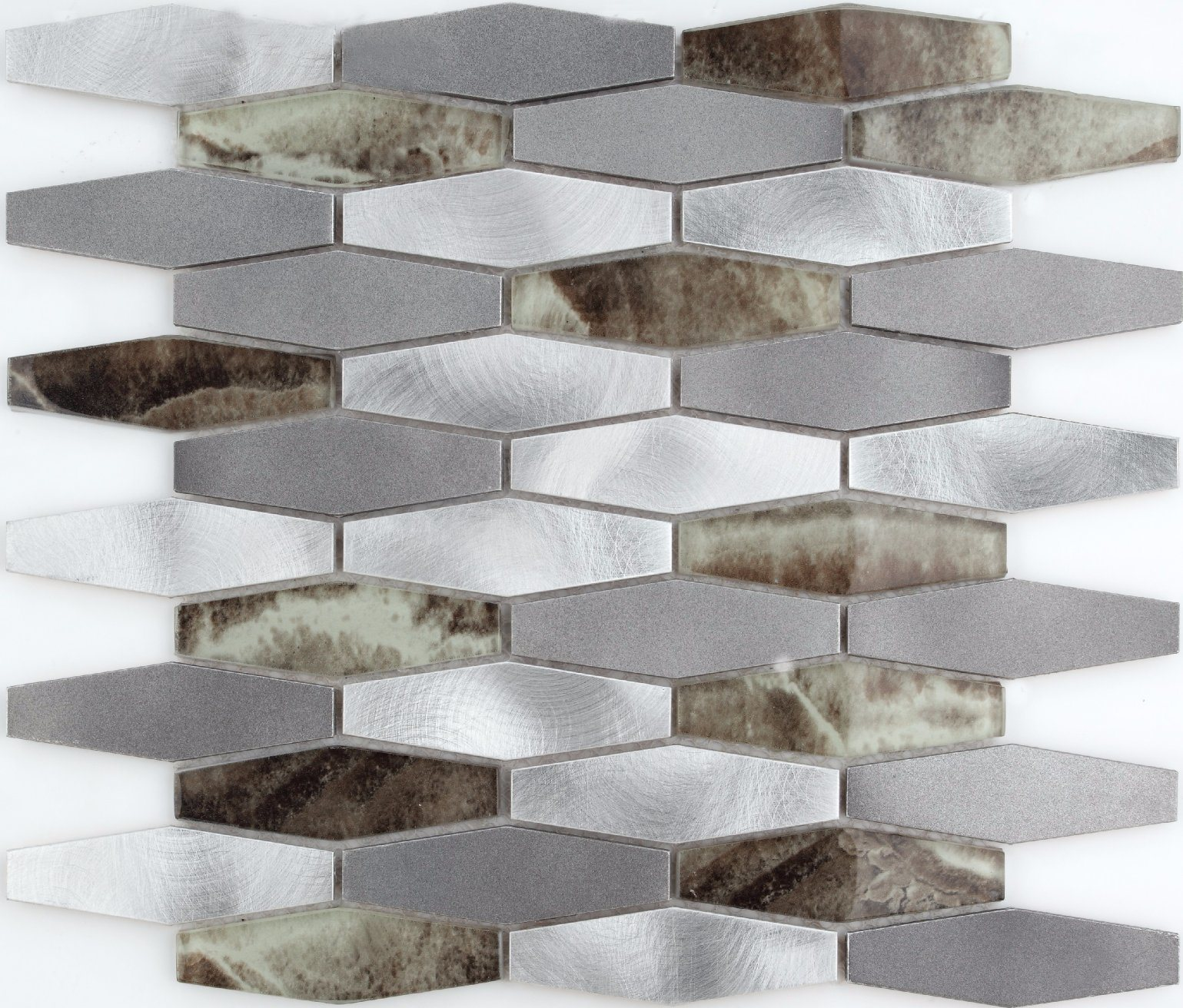Aluminum Mix Glass Mosaic Pattern Tile for Wall