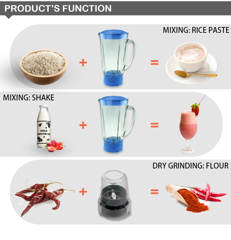 Glass Jar 2 in 1 Powerful Low Noise Electric Blender