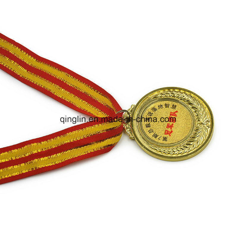Gold Plating Champion Metal Medals with Ribbon