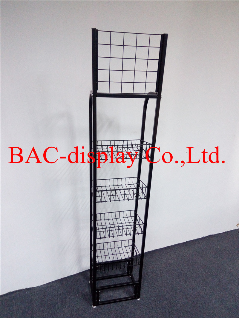 Floor Standing Metal Wire Food Display Rack for Supermarket