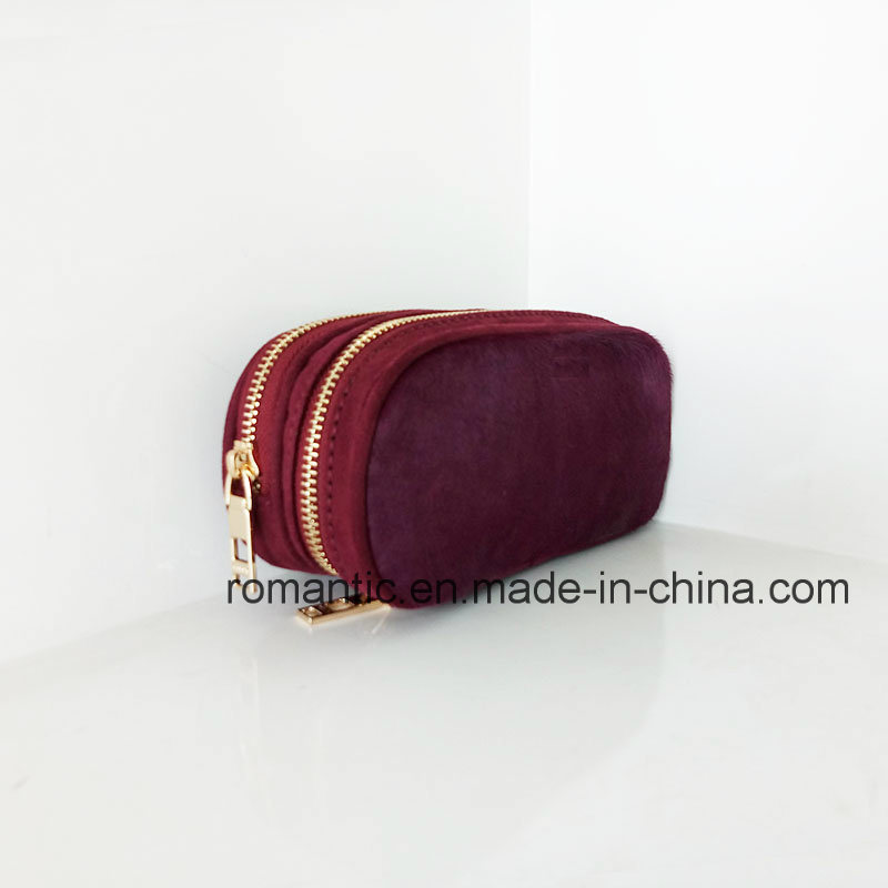 Promotional Lady Fur Leather Wallet Women Genuine Purse (NMDK-041301)