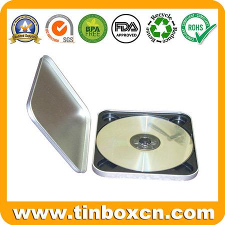 Square CD Tin Case with Zipper, Metal Tin DVD Box
