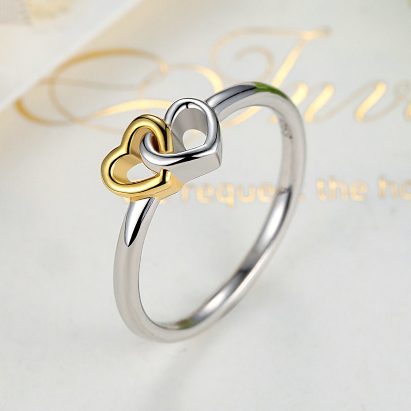925 Sterling Silver Heart to Heart Ring with 14k Gold Plated