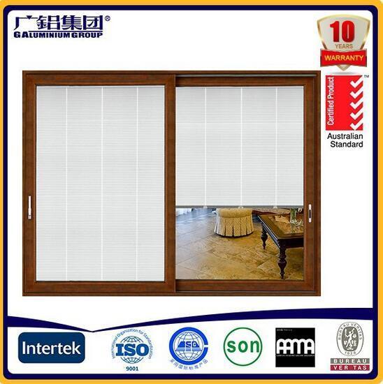 Aluminum Frame Double Glass with Blinds Inside Sliding Door
