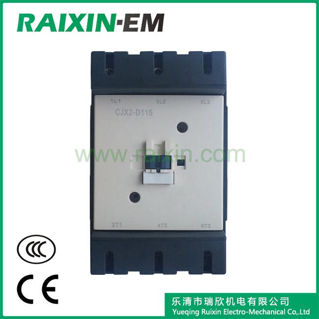 Raixin New Type Cjx2-D115 AC Contactor 3p AC-3 380V 55kw