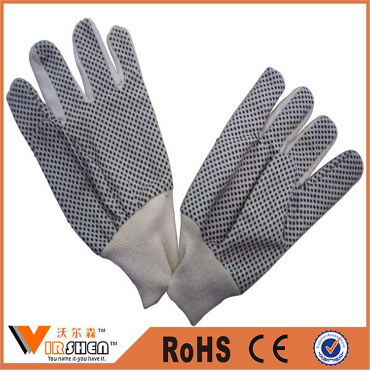 China 6 Oz Twill Cotton Knitted Cheap PVC Dotted Work Gloves