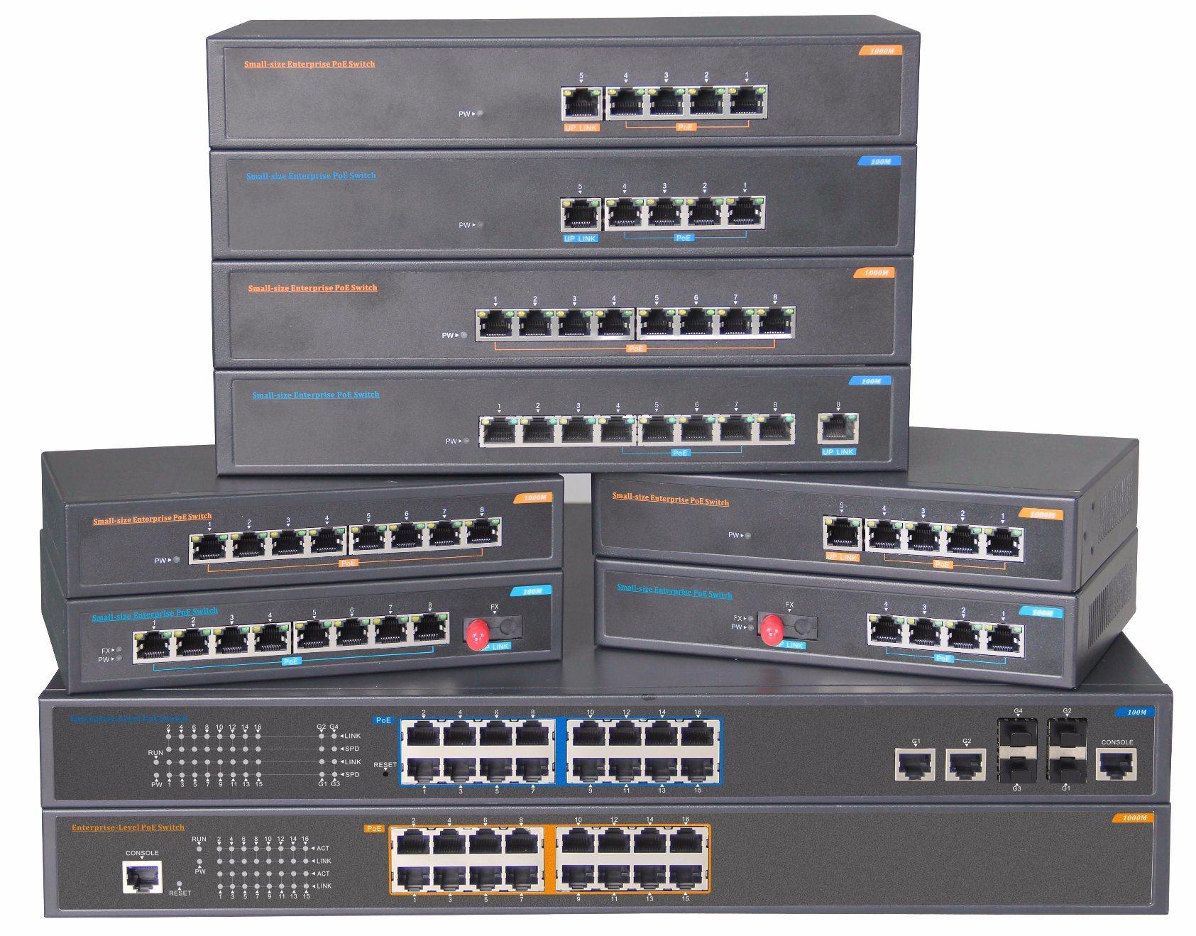 Unmanaged 8 Port RJ45 Poe Fiber Ethernet Network Switch
