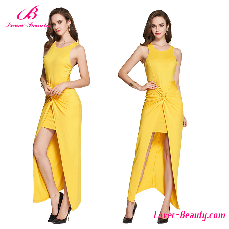 Wrap Over Front Long Yellow Formal Dress Gown Evening Dress