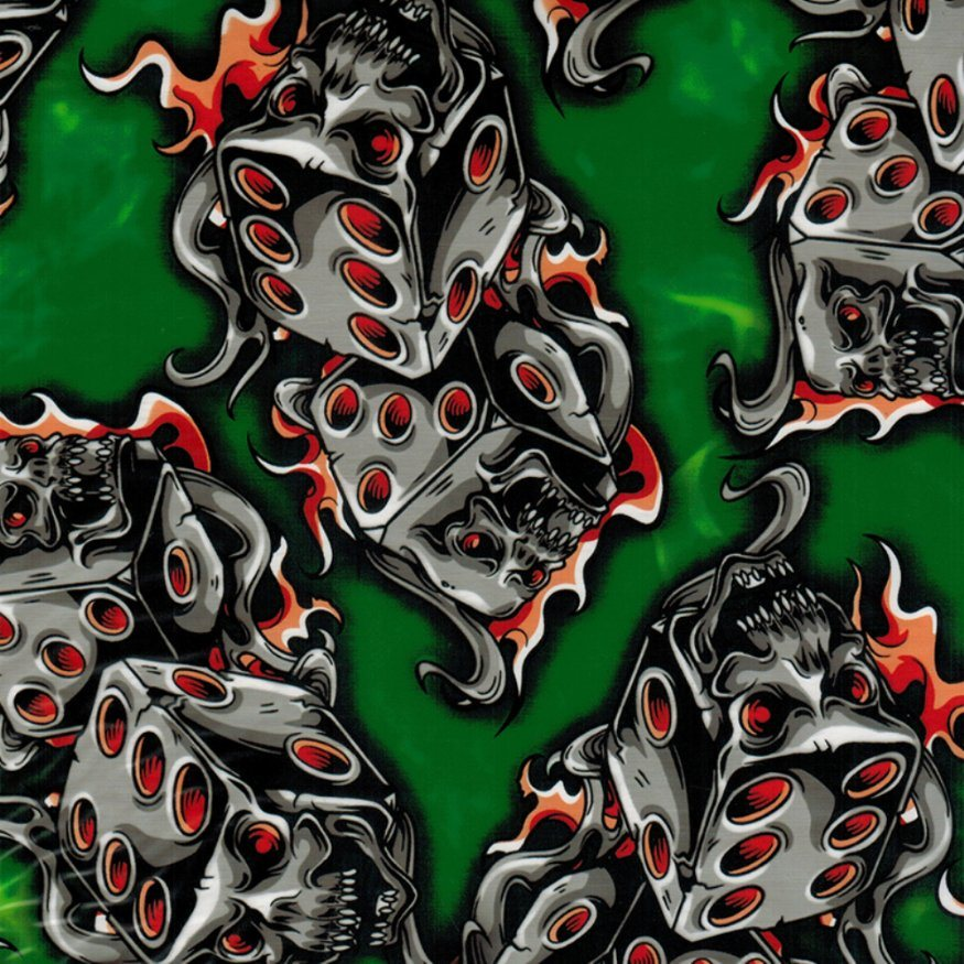 Kingtop 0.5m Width Skulls and Flame Design Water Transfer Printing Hydrographic Film Wdf9035b