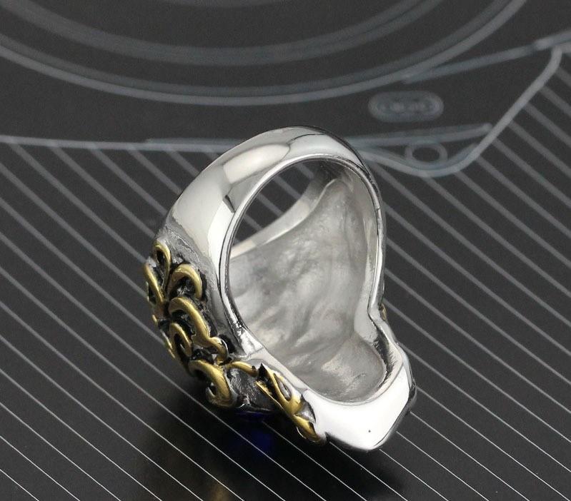 Fashion Vintage Retro Skull Diamond Titanium Stainless Steel Men Band Ring Jewelry