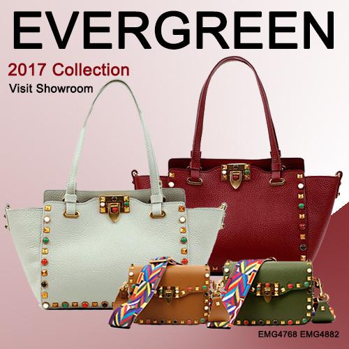2017 Fashion Studded Women′s Bag Wide Colorful Strap Genuine Leather Hand Bag Lady Designer Handbag Emg4768