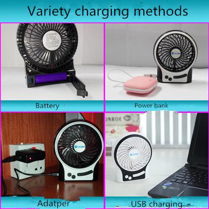 Portable Charging USB mini fan with 3 level wind speeding-Black