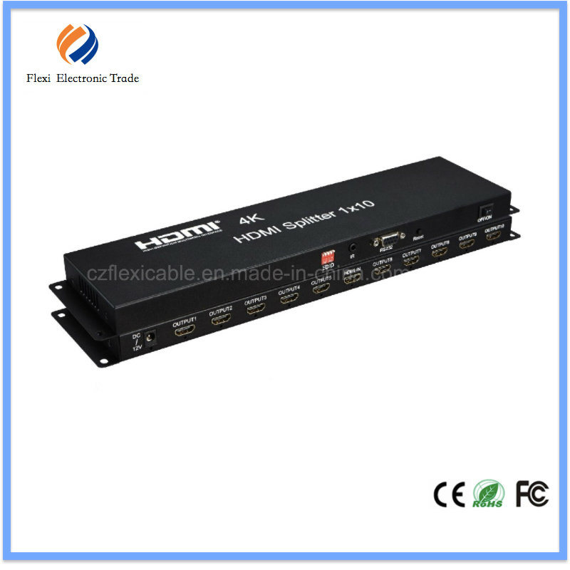 4kx2k HDMI1.4 Splitter 1X10 Support Edid and Cec Built-in IR Function