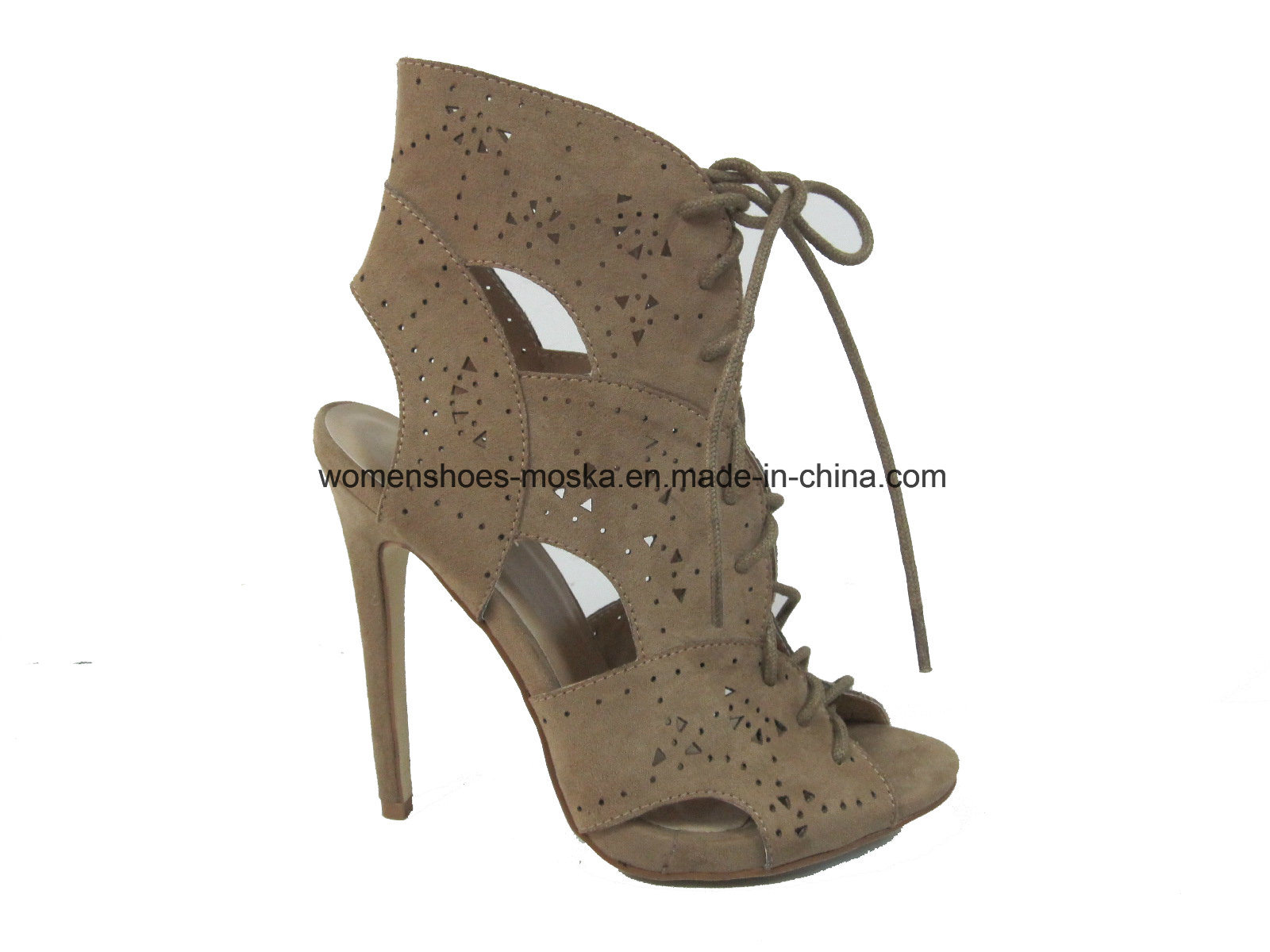 Hot Sale Women High Heel Ankle Sandal Shoes with Peep Toe