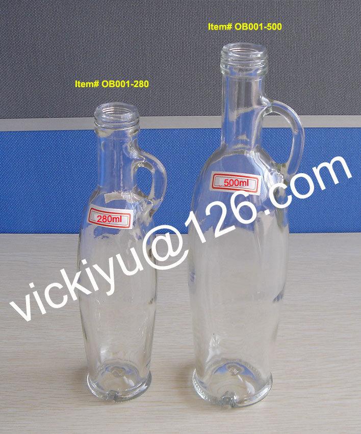 250ml, 500ml Transparent European Style Oval Glass Olive Oil Bottles