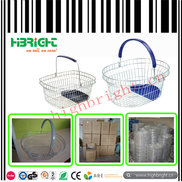 Half Round Wire Mesh Cosmetic Shopping Basket with Single Handle