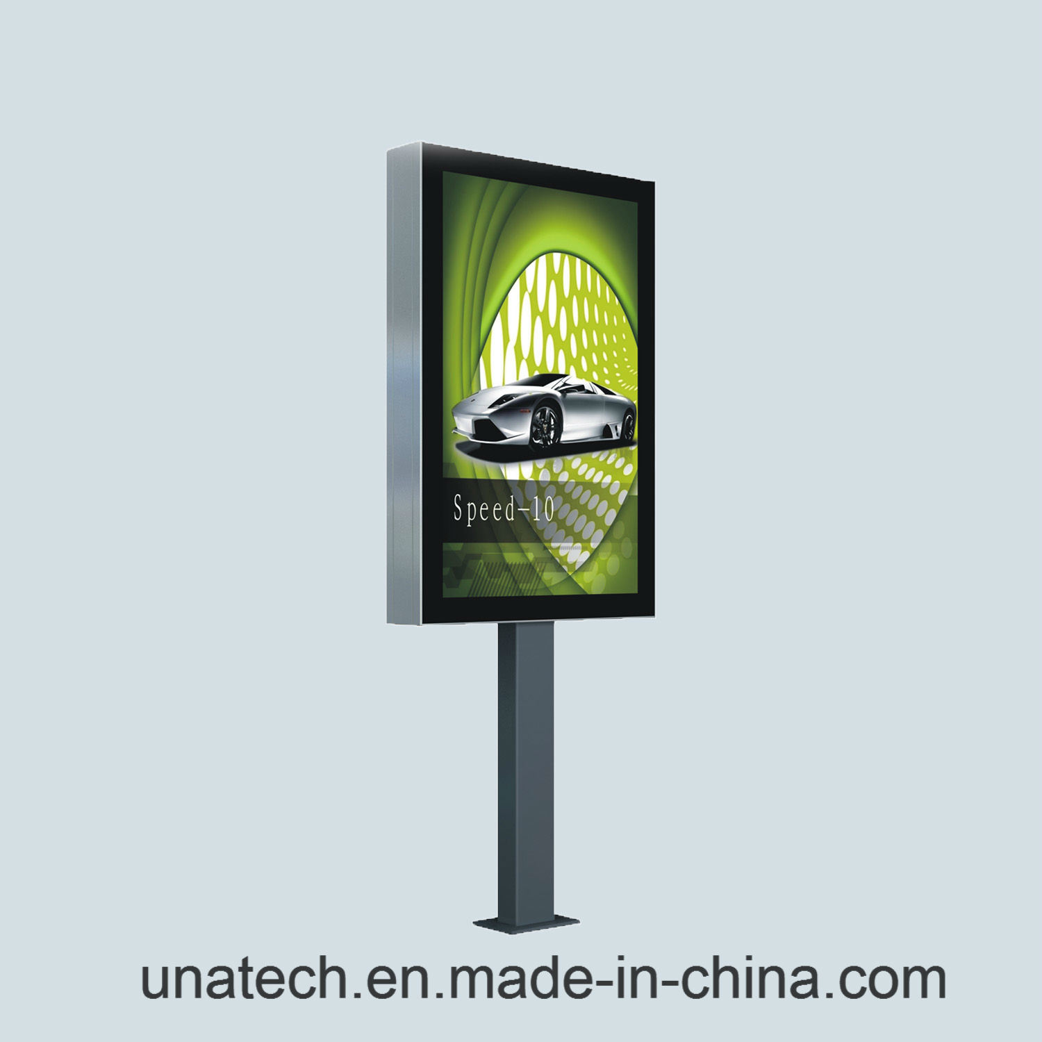 Outdoor Square Post Pedestal Aluminium Rolling LED Light Box Ad Billboard