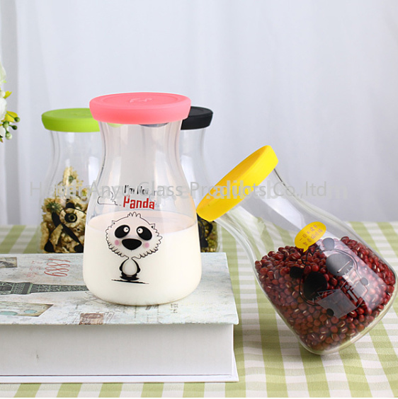 Milk Glass Bottle Juice Bottle Storage Food Jar with Decal
