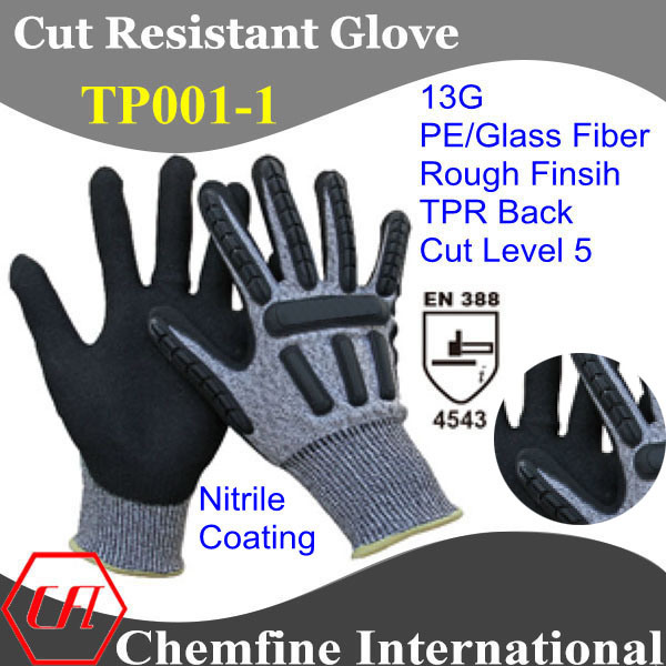 13G PE/Glass Fiber Knitted Glove with Nitrile Rough Coating & TPR Back/ En388: 4543