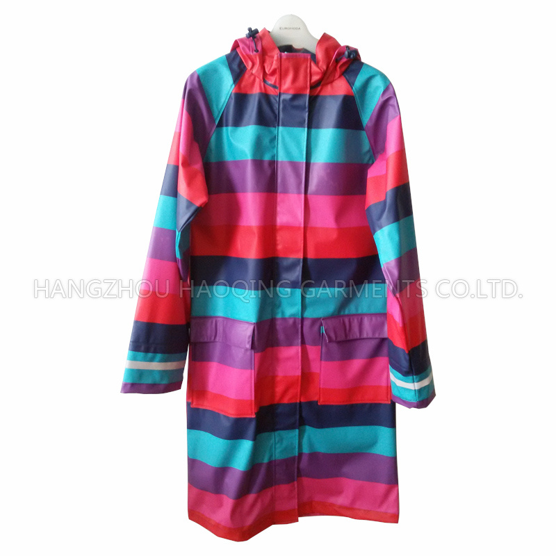 Colourful Broad Stripe PU Adult Raincoat
