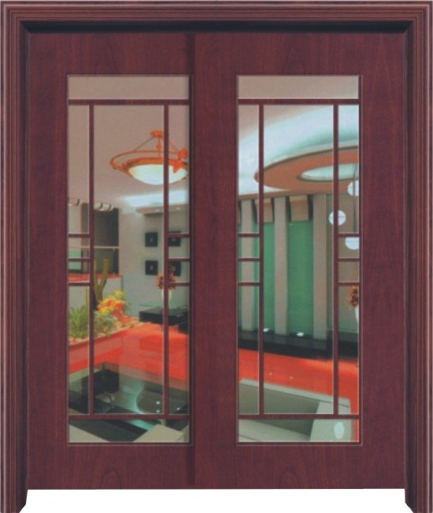 China wood with glass double sliding door jd105 china for Double pane sliding glass door