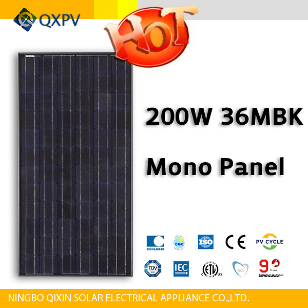 36V 200W Black Mono Solar Panel