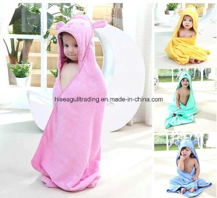 Baby/Kids Hooded Bath Towel Made of 100% Cotton Terry Cloth, Solid Color