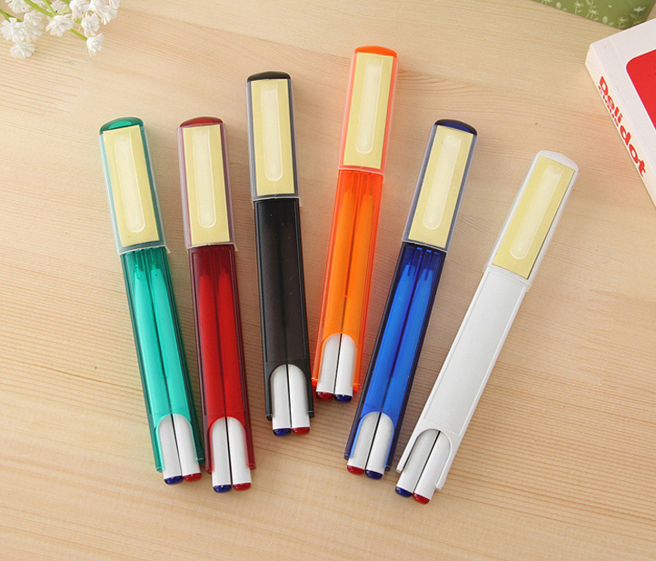 Popular Promotional Doulb Color Refill Pen with Sticky Note
