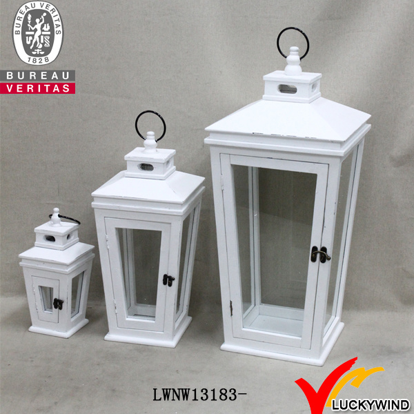 Shabby Faded White Wooden Lantern Candle Holder